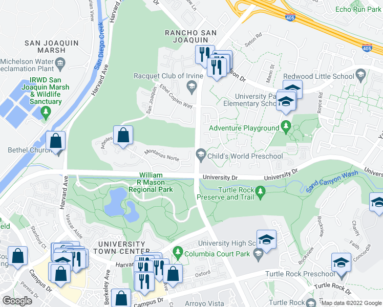 map of restaurants, bars, coffee shops, grocery stores, and more near in Irvine