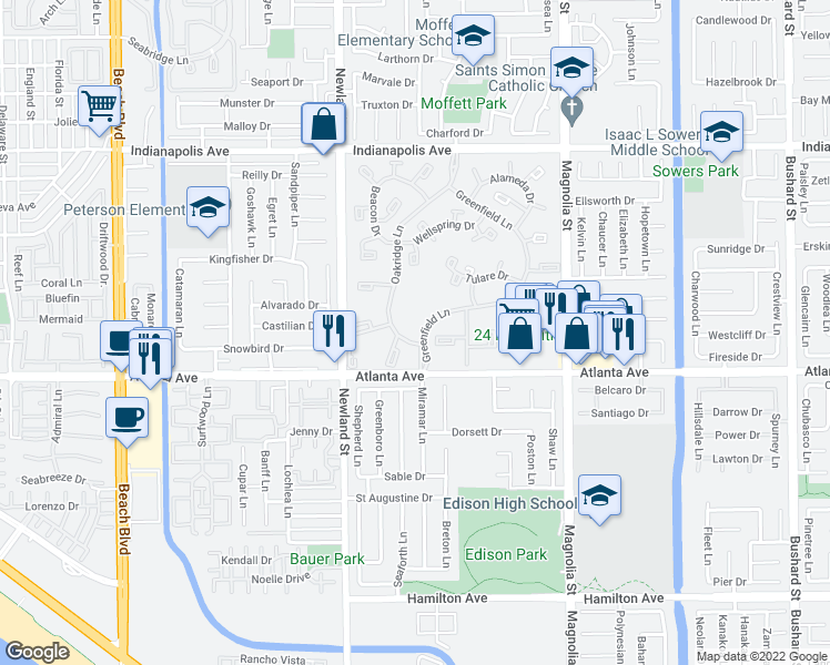 map of restaurants, bars, coffee shops, grocery stores, and more near 8644 Portola Court in Huntington Beach