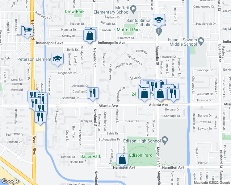 map of restaurants, bars, coffee shops, grocery stores, and more near 8566 Van Ness Court in Huntington Beach