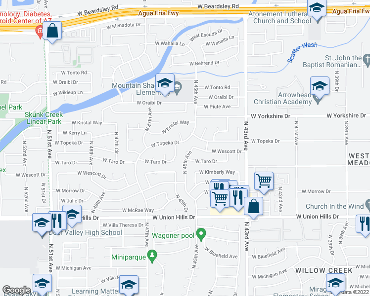 map of restaurants, bars, coffee shops, grocery stores, and more near 4510 West Taro Drive in Glendale