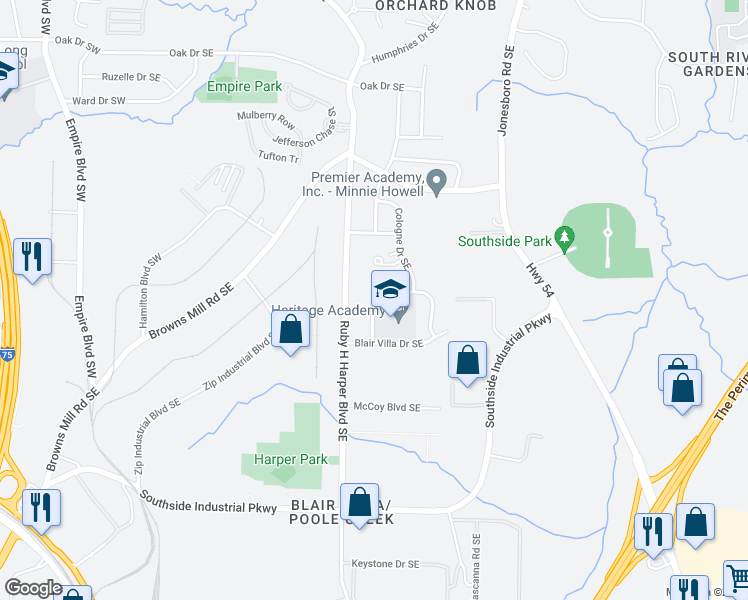 map of restaurants, bars, coffee shops, grocery stores, and more near 3449 Villa Circle Southeast in Atlanta