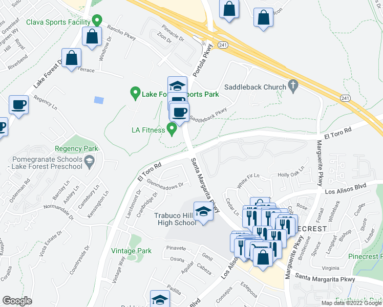 map of restaurants, bars, coffee shops, grocery stores, and more near El Toro Rd & Santa Margarita Pkwy in Lake Forest