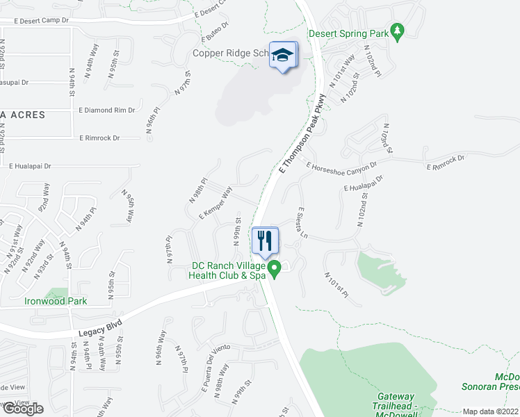map of restaurants, bars, coffee shops, grocery stores, and more near 9889 East Parkside Lane in Scottsdale