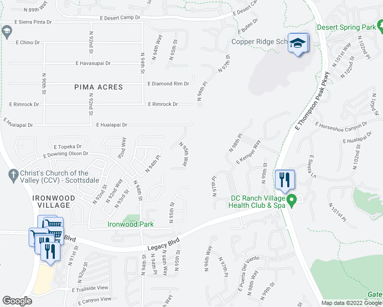 map of restaurants, bars, coffee shops, grocery stores, and more near 19079 North 95th Way in Scottsdale