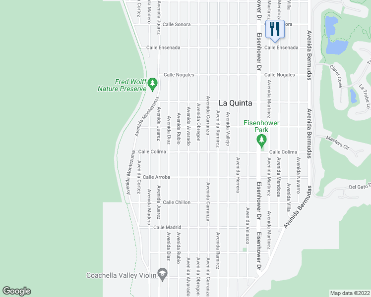 map of restaurants, bars, coffee shops, grocery stores, and more near 53475 Avenue Alvarado in La Quinta