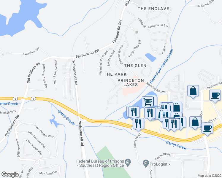 map of restaurants, bars, coffee shops, grocery stores, and more near 3291 Wellington Walk Southwest in Atlanta