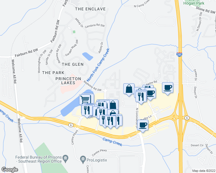map of restaurants, bars, coffee shops, grocery stores, and more near 3871 Redwine Road in Atlanta
