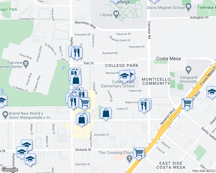 map of restaurants, bars, coffee shops, grocery stores, and more near 2366 Cornell Drive in Costa Mesa