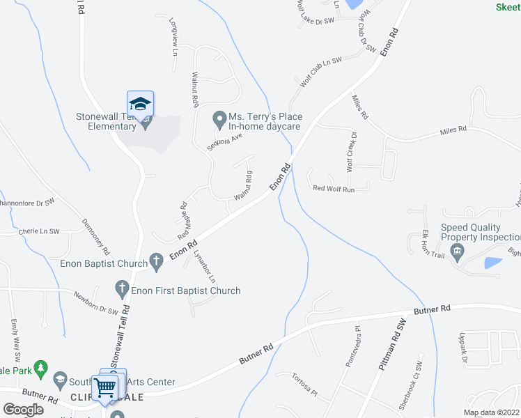 map of restaurants, bars, coffee shops, grocery stores, and more near 3450 Enon Road in Atlanta