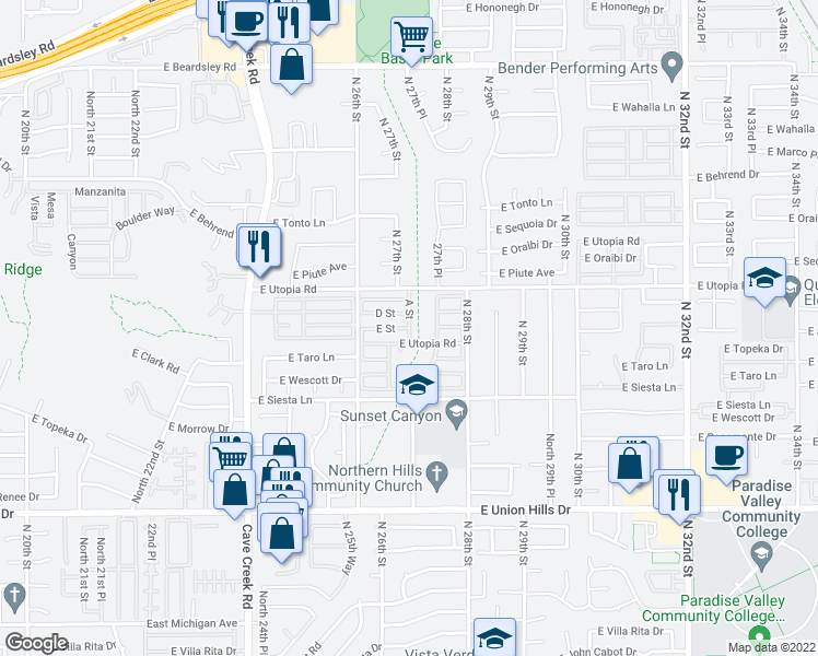 map of restaurants, bars, coffee shops, grocery stores, and more near 2701 East Utopia Road in Phoenix