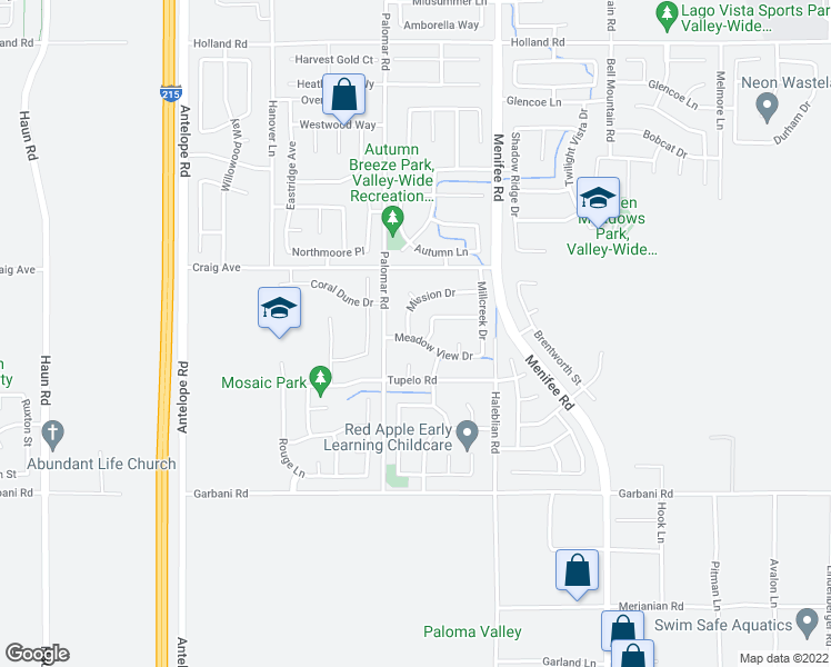map of restaurants, bars, coffee shops, grocery stores, and more near 28505 Mission Drive in Menifee