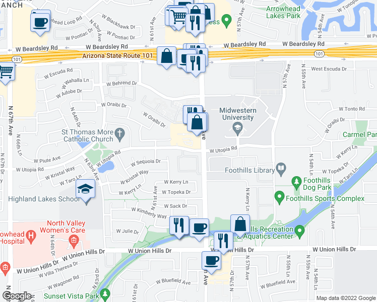 map of restaurants, bars, coffee shops, grocery stores, and more near West Utopia Road in Glendale