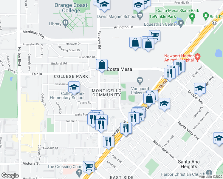 map of restaurants, bars, coffee shops, grocery stores, and more near 146 Yorktown Lane in Costa Mesa