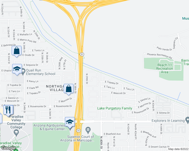 map of restaurants, bars, coffee shops, grocery stores, and more near 3928 East Kerry Lane in Phoenix