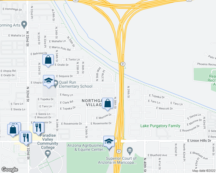 map of restaurants, bars, coffee shops, grocery stores, and more near 3742 East Kristal Way in Phoenix
