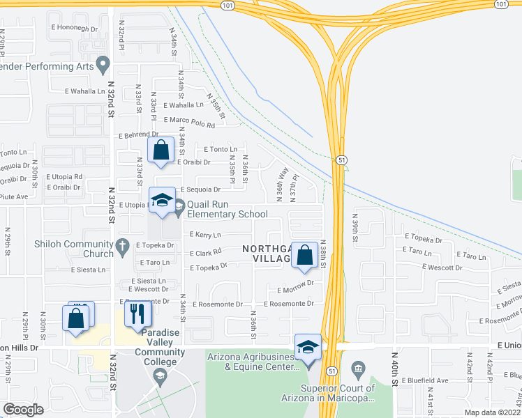 map of restaurants, bars, coffee shops, grocery stores, and more near 3609 East Utopia Road in Phoenix