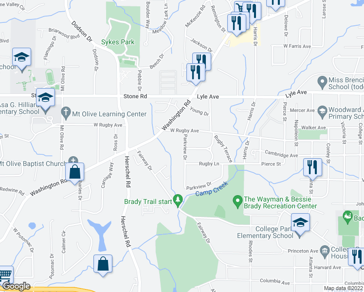 map of restaurants, bars, coffee shops, grocery stores, and more near 3423 Parkview Drive in College Park
