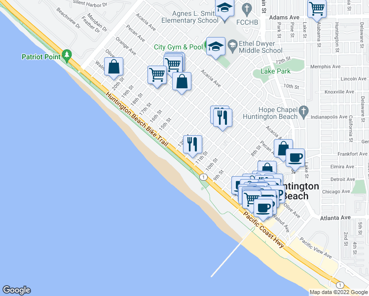 map of restaurants, bars, coffee shops, grocery stores, and more near 1200 Pacific Coast Highway in Huntington Beach