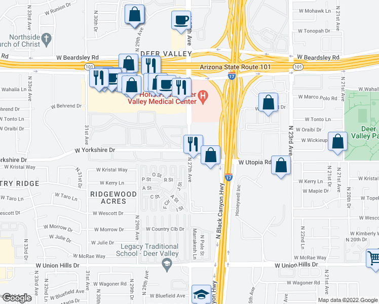map of restaurants, bars, coffee shops, grocery stores, and more near North 27th Avenue & West Yorkshire Drive in Phoenix