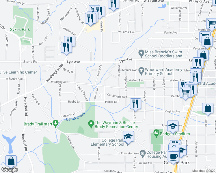 map of restaurants, bars, coffee shops, grocery stores, and more near 2125 Rugby Avenue in College Park