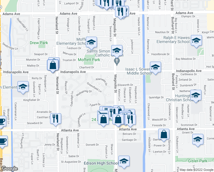 map of restaurants, bars, coffee shops, grocery stores, and more near 8933 Yolo Circle in Huntington Beach