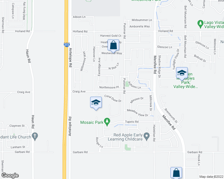 map of restaurants, bars, coffee shops, grocery stores, and more near 28385 Northmoore Place in Menifee