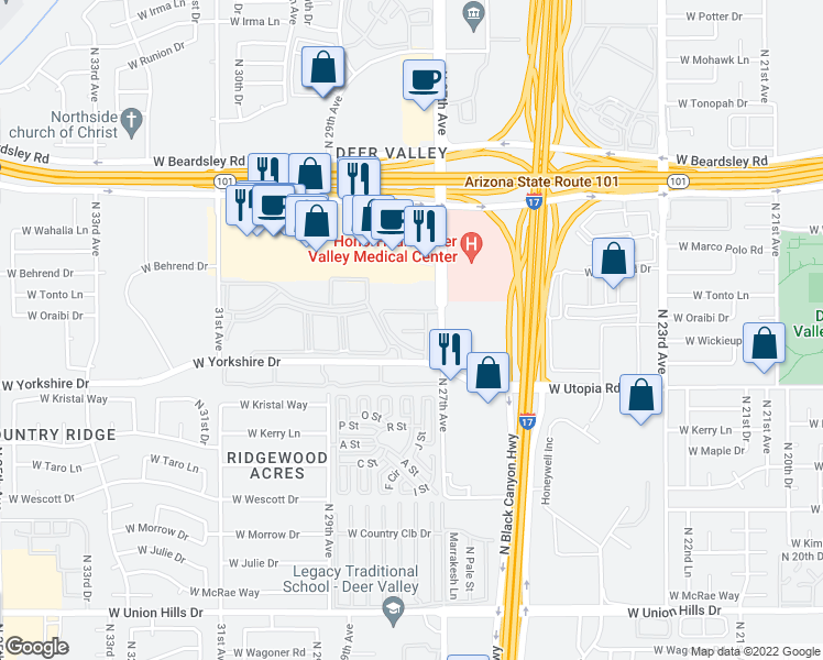map of restaurants, bars, coffee shops, grocery stores, and more near 2702 West Yorkshire Drive in Phoenix