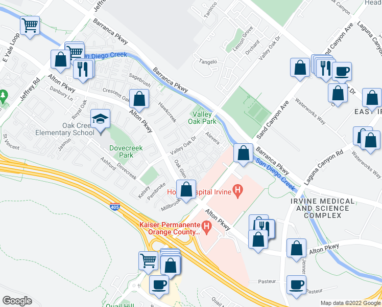 map of restaurants, bars, coffee shops, grocery stores, and more near 229 Oak Glen in Irvine