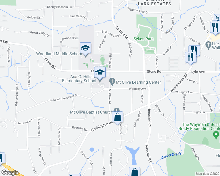 map of restaurants, bars, coffee shops, grocery stores, and more near 3346 Mount Olive Road in Atlanta