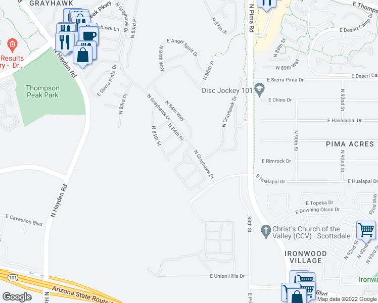 map of restaurants, bars, coffee shops, grocery stores, and more near 19550 North Grayhawk Drive in Scottsdale