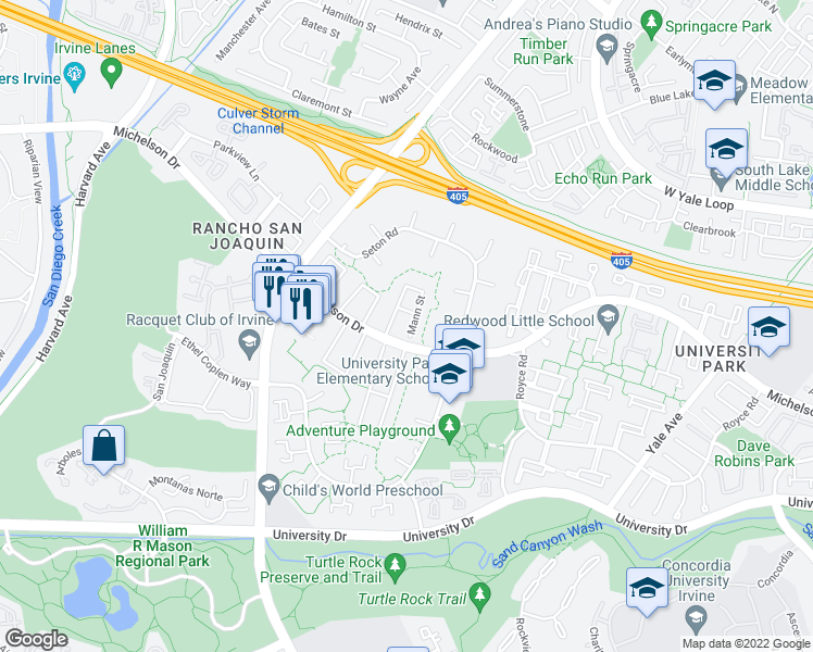 map of restaurants, bars, coffee shops, grocery stores, and more near 45 Mann Street in Irvine