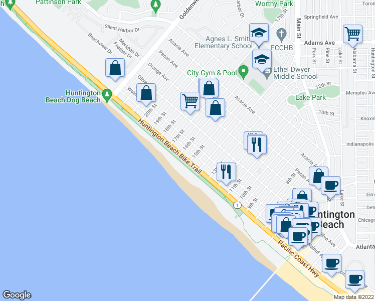 map of restaurants, bars, coffee shops, grocery stores, and more near 1516 Pacific Coast Highway in Huntington Beach