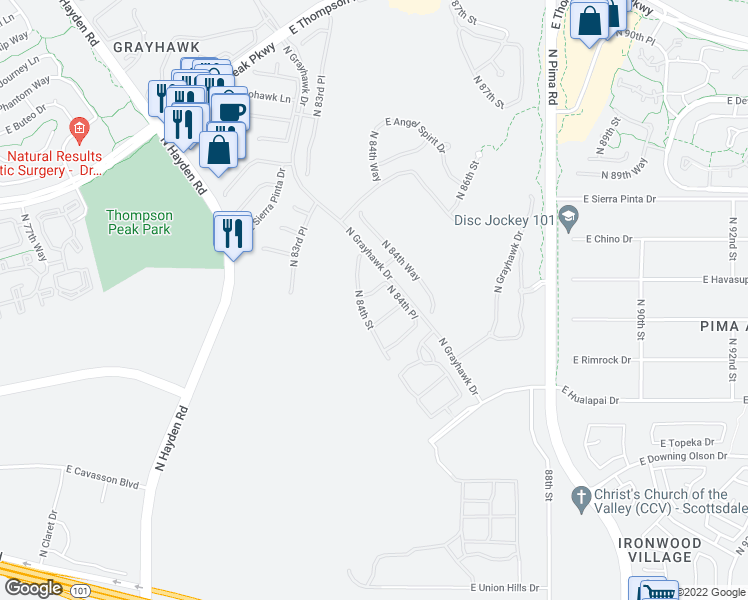 map of restaurants, bars, coffee shops, grocery stores, and more near 8423 East Havasupai Drive in Scottsdale