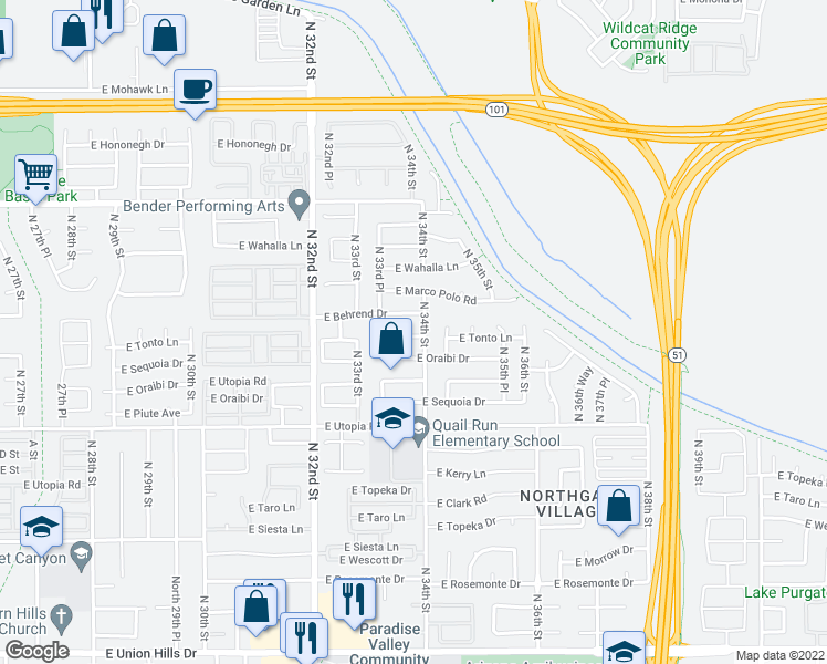 map of restaurants, bars, coffee shops, grocery stores, and more near 3350 East Tonto Lane in Phoenix