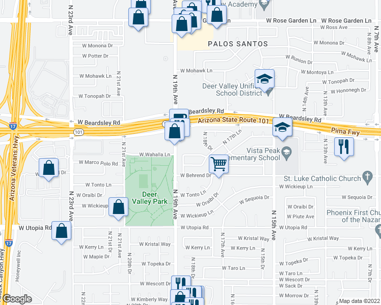 map of restaurants, bars, coffee shops, grocery stores, and more near 1830 West Wahalla Lane in Phoenix