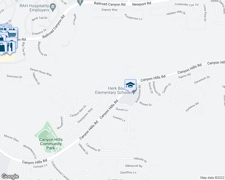 map of restaurants, bars, coffee shops, grocery stores, and more near 34351 Blossoms Drive in Lake Elsinore