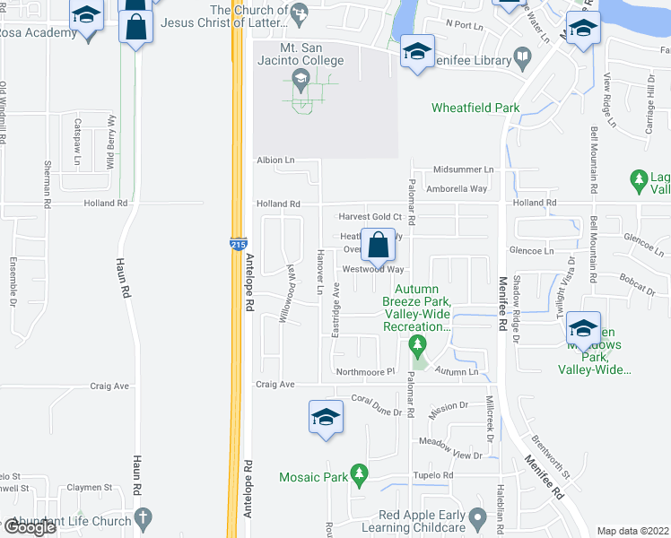 map of restaurants, bars, coffee shops, grocery stores, and more near 30592 Eastridge Avenue in Menifee