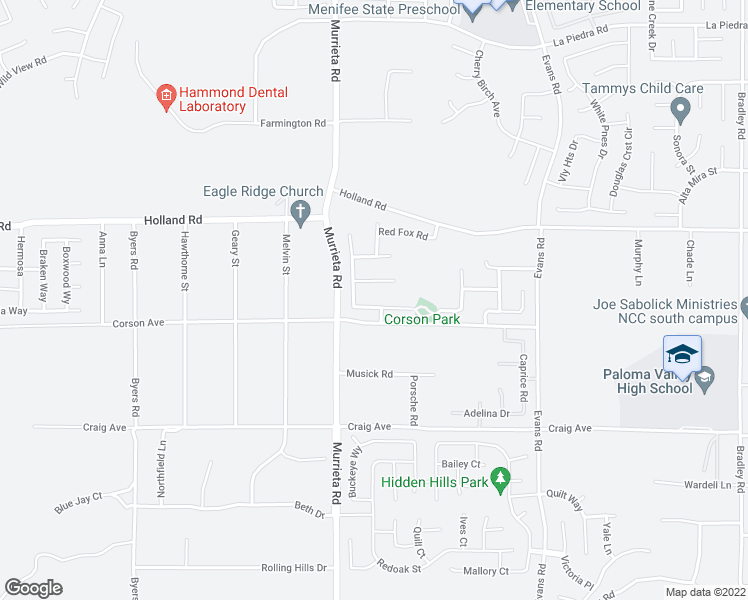 map of restaurants, bars, coffee shops, grocery stores, and more near 26084 Sierra Sky Street in Menifee