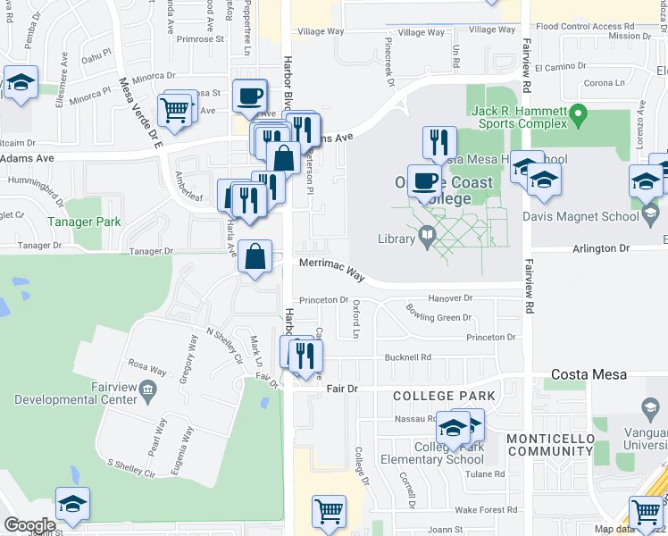 map of restaurants, bars, coffee shops, grocery stores, and more near 425 Merrimac Way in Costa Mesa