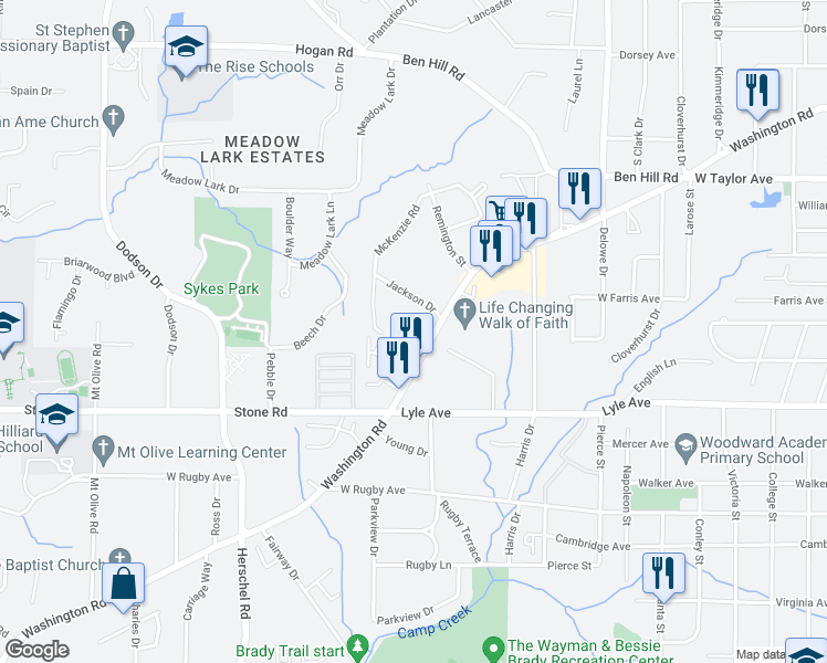 map of restaurants, bars, coffee shops, grocery stores, and more near 2320 Jackson Drive in East Point