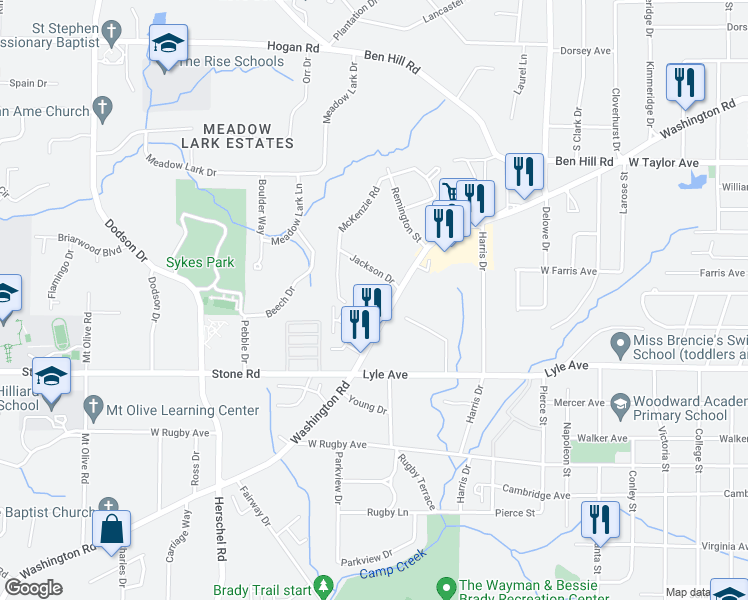 map of restaurants, bars, coffee shops, grocery stores, and more near 3207 Washington Road in Atlanta