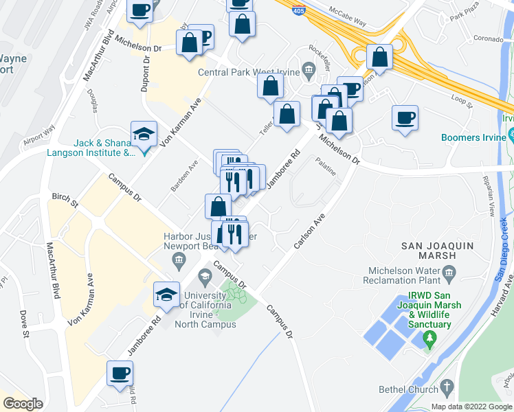 map of restaurants, bars, coffee shops, grocery stores, and more near 10 Via Ricasol in Irvine