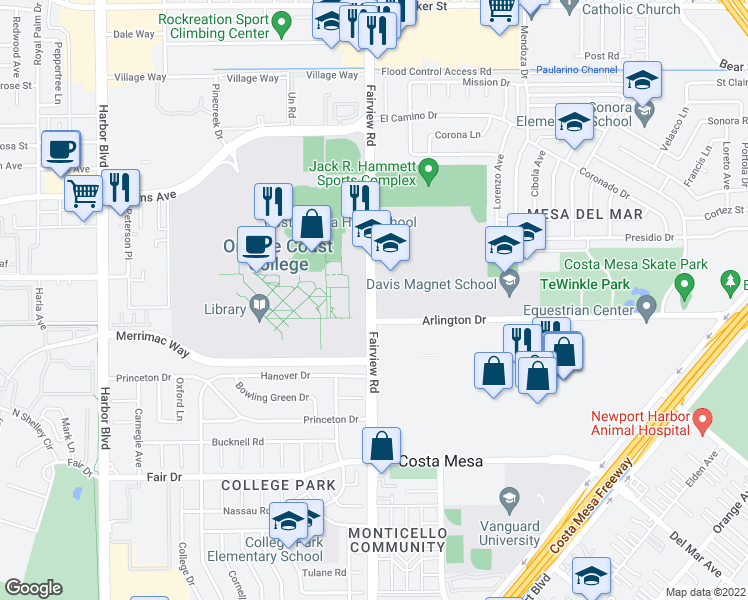 map of restaurants, bars, coffee shops, grocery stores, and more near 2700-2706 Fairview Road in Costa Mesa