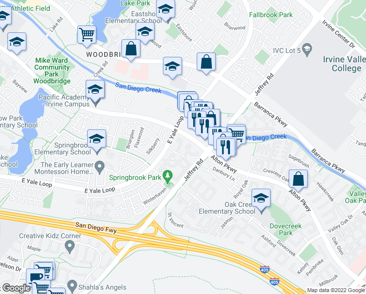 map of restaurants, bars, coffee shops, grocery stores, and more near 5300-5418 Alton Parkway in Irvine