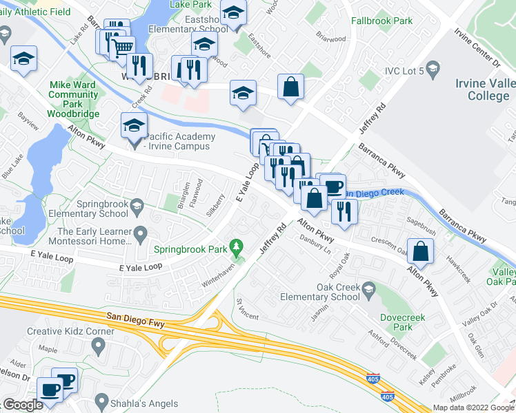 map of restaurants, bars, coffee shops, grocery stores, and more near 82 Knollglen in Irvine