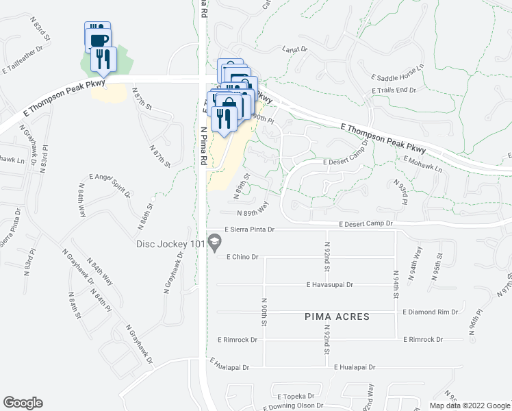 map of restaurants, bars, coffee shops, grocery stores, and more near 8947 East Mountain Spring Road in Scottsdale