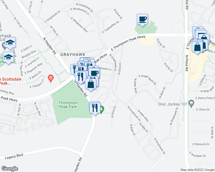 map of restaurants, bars, coffee shops, grocery stores, and more near 8242 East Mountain Spring Road in Scottsdale