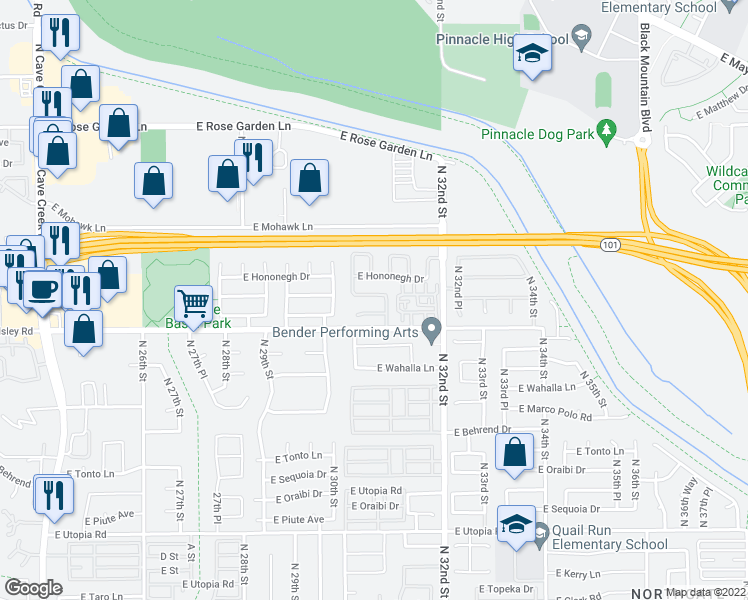 map of restaurants, bars, coffee shops, grocery stores, and more near 3039 East Blackhawk Drive in Phoenix