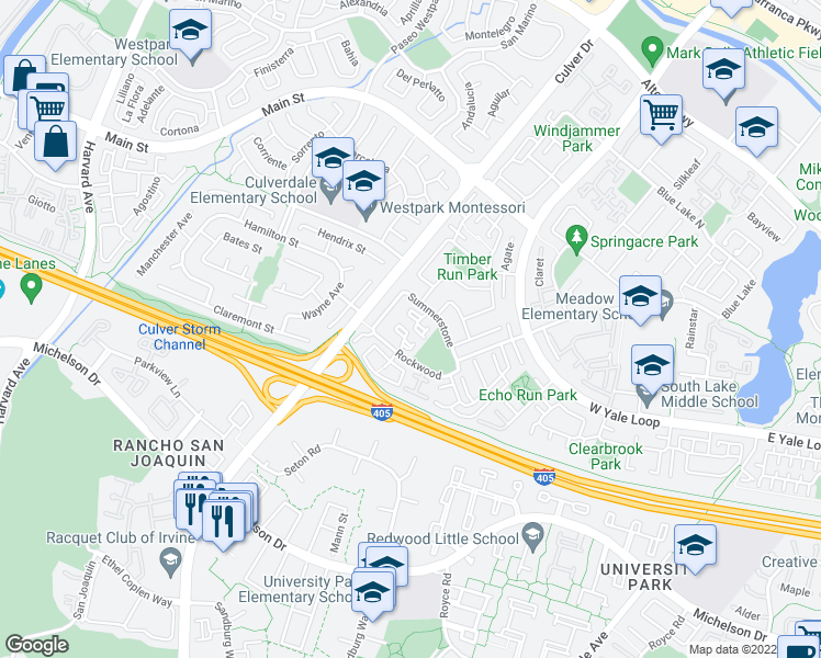 map of restaurants, bars, coffee shops, grocery stores, and more near 22-42 Rockwood in Irvine