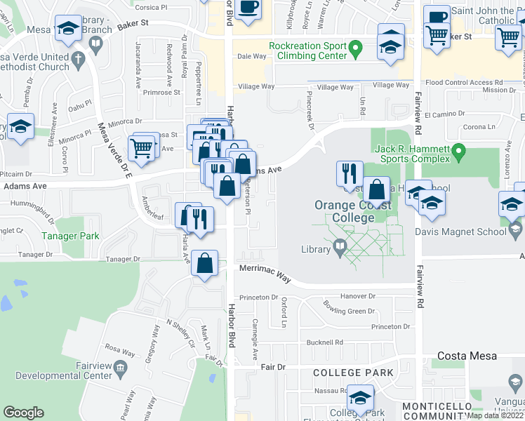 map of restaurants, bars, coffee shops, grocery stores, and more near 2700 Peterson Place in Costa Mesa